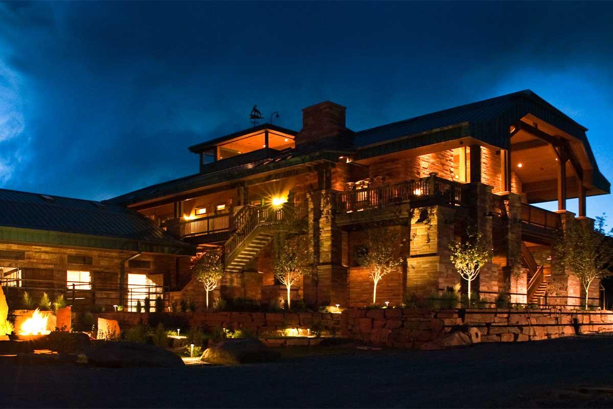 The lodge at night